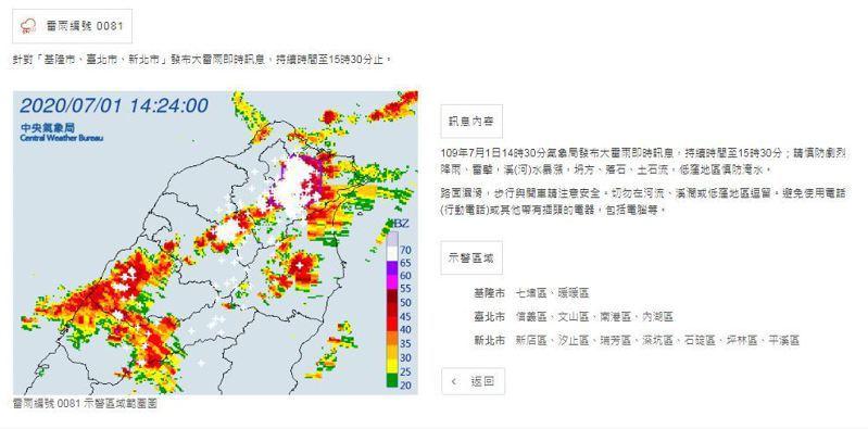 北北基大雷雨訊息。圖/氣象局提供