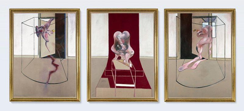 蘇富比拍賣會上,Francis Bacon三聯作《啟發自艾斯奇勒斯〈奧瑞斯提亞〉之三聯作》,以超越高估價之8,460萬美元成交。圖/蘇富比提供