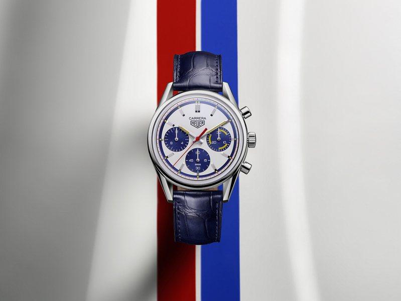 泰格豪雅Carrera Heuer 02計時碼表160周年Montreal限量版,不鏽鋼表殼,約22萬2,100元。圖/TAG Heuer提供