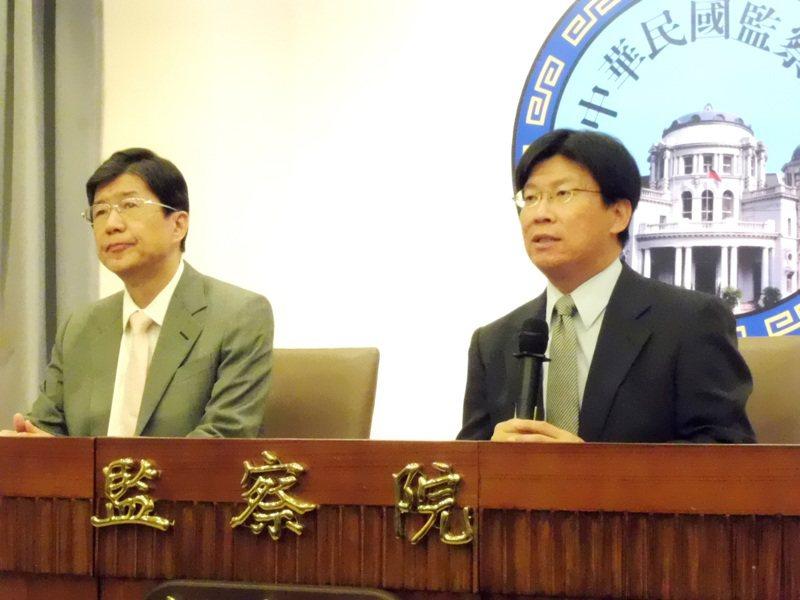 監委蔡崇義(左)、高涌誠(右)提案彈劾偵辦曲棍球協會侵占公款案的檢察官。(本報資料照片)