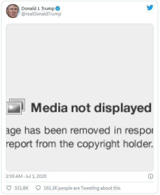 川普原始推文顯示「圖片已移除」。 圖/截自推特