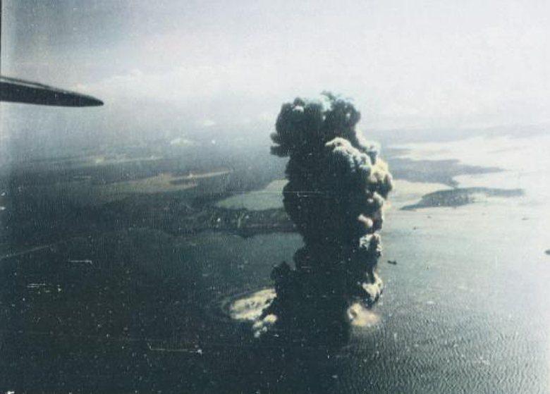 1944/10/12,美軍艦載機掃蕩澎湖馬公特別根據地隊(位於測天島)。