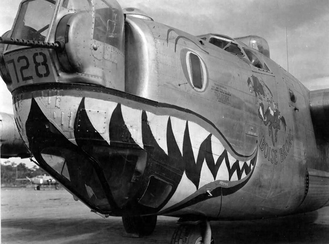 美軍B-24的機鼻彩繪,本機序號44-40728,隸屬於第5航空隊第90轟炸大隊第320轟炸中隊。 圖/取自World War Photos