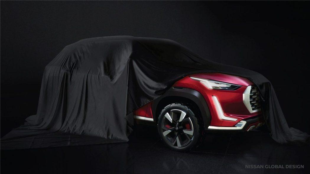 全新的預告圖露出了Nissan Magnite的半邊側臉,日型燈條與越野胎相當吸...