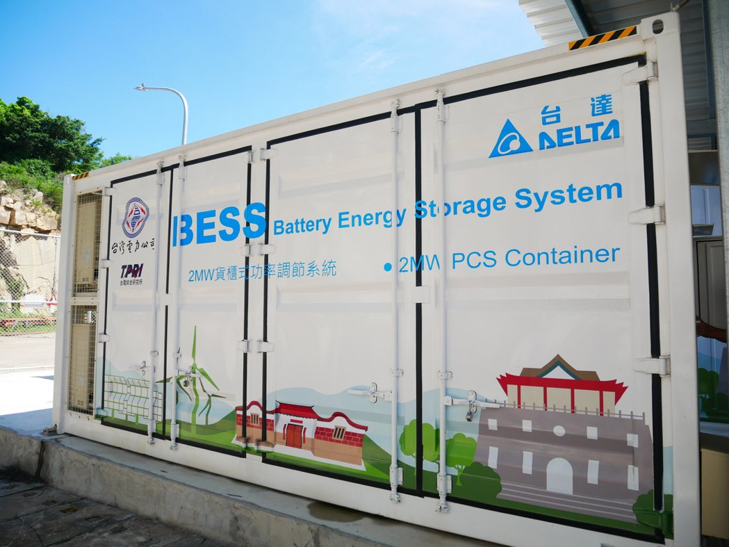 金門夏興電廠5月啟用的全國最大2MW(百萬瓦)儲能系統。記者黃有容/攝