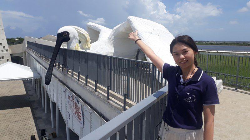 一見雙雕藝術季11日登場,遊客中心上方「地表最大黑面琵鷺」,吸引遊客搶先拍照自拍。記者周宗禎/攝影
