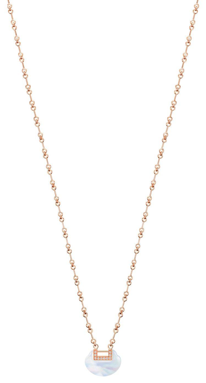 Qeelim,Yu Yi系列18K玫瑰金鑲鑽珍珠母貝小型項鍊11萬8,000元。...