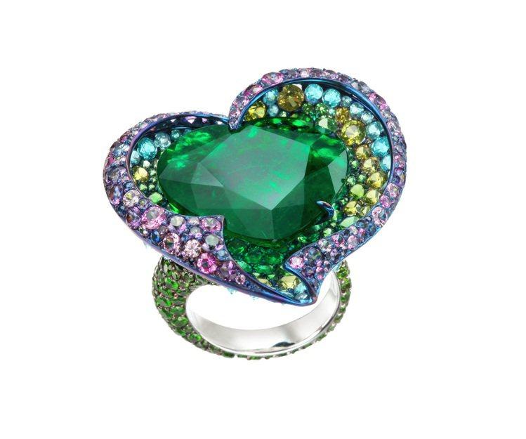 蕭邦高級珠寶系列戒指,18K白金與鈦金屬鑲嵌心形切割19.76克拉哥倫比亞祖母綠...
