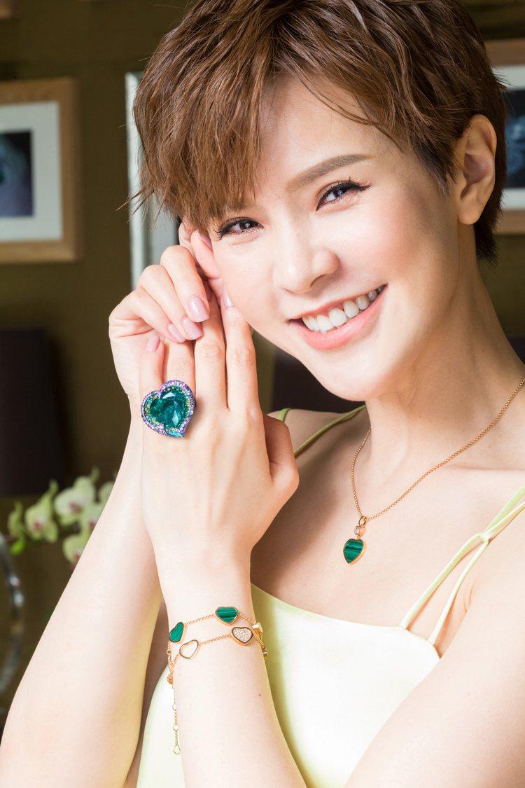 心形圖案為蕭邦的經典。高級珠寶系列戒指,18K白金與鈦金屬鑲嵌心形切割19.76...