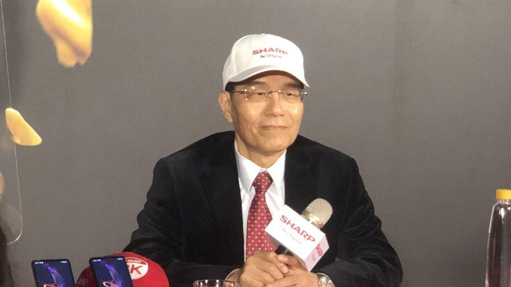夏普會長戴正吳出席SHARP AQUOS R5G手機上市記者會。記者尹慧中/攝影