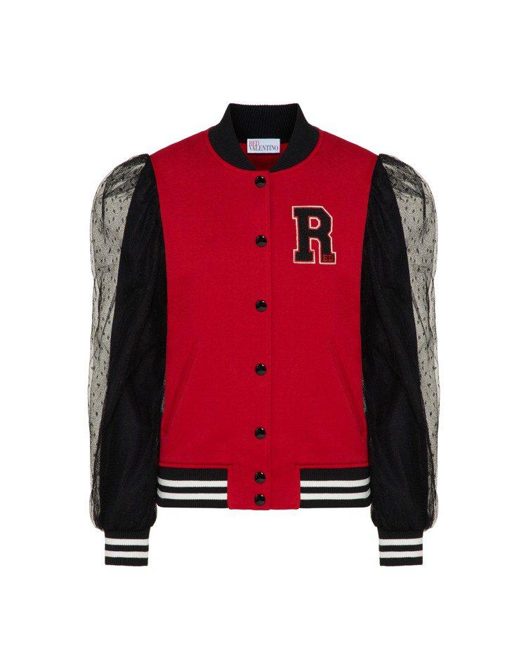 波點網紗裝飾棒球外套,29,800元。圖/REDValentino提供