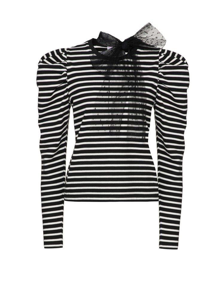 條紋蕾絲蝴蝶結上衣,16,800元。圖/REDValentino提供