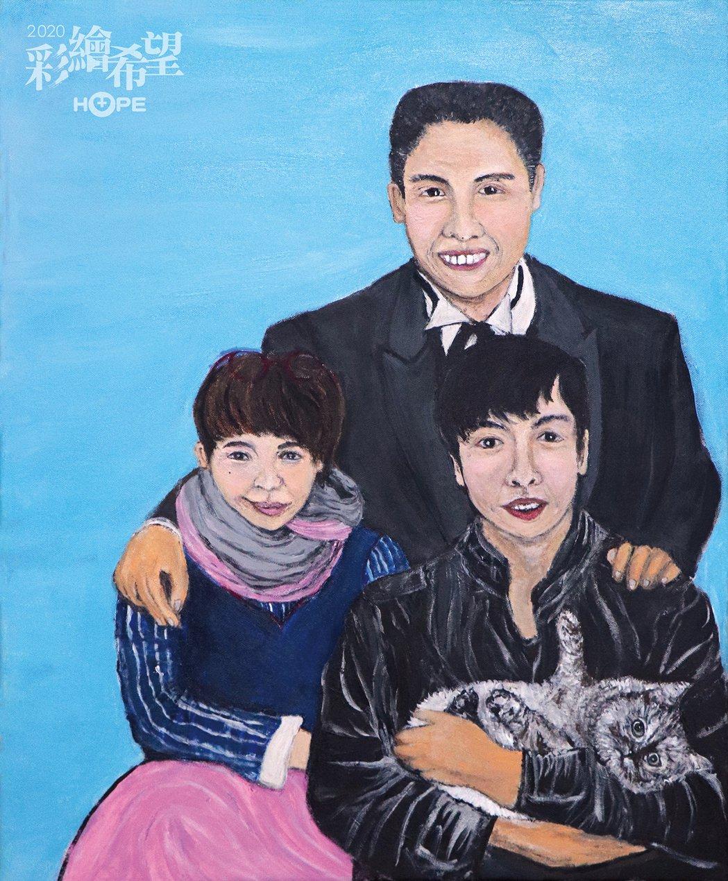 癌友雅紛以「全家得癌」的畫作,獲得癌症希望基金會主辦的第8屆「彩繪希望」繪畫比賽...