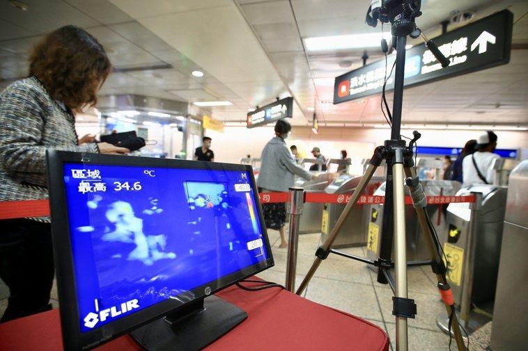 北捷在入口閘門處,設置紅外線熱顯像儀偵測旅客體溫。聯合報系記者林伯東/攝影