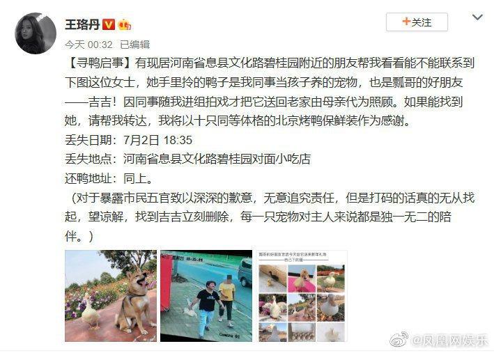 王珞丹幫友人發「尋鴨啟示」找愛寵。圖/擷自微博