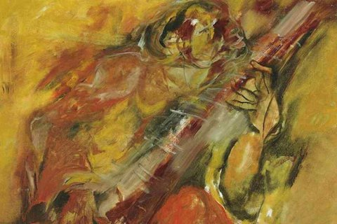 印度藝術家Kristen Khanna 描繪西塔大師Ali Akbar Kha演...