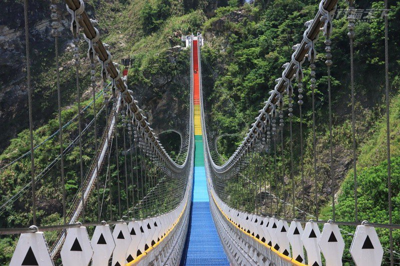 七彩橋面就像彩虹一樣鮮豔亮眼,為階梯式景觀吊橋。
