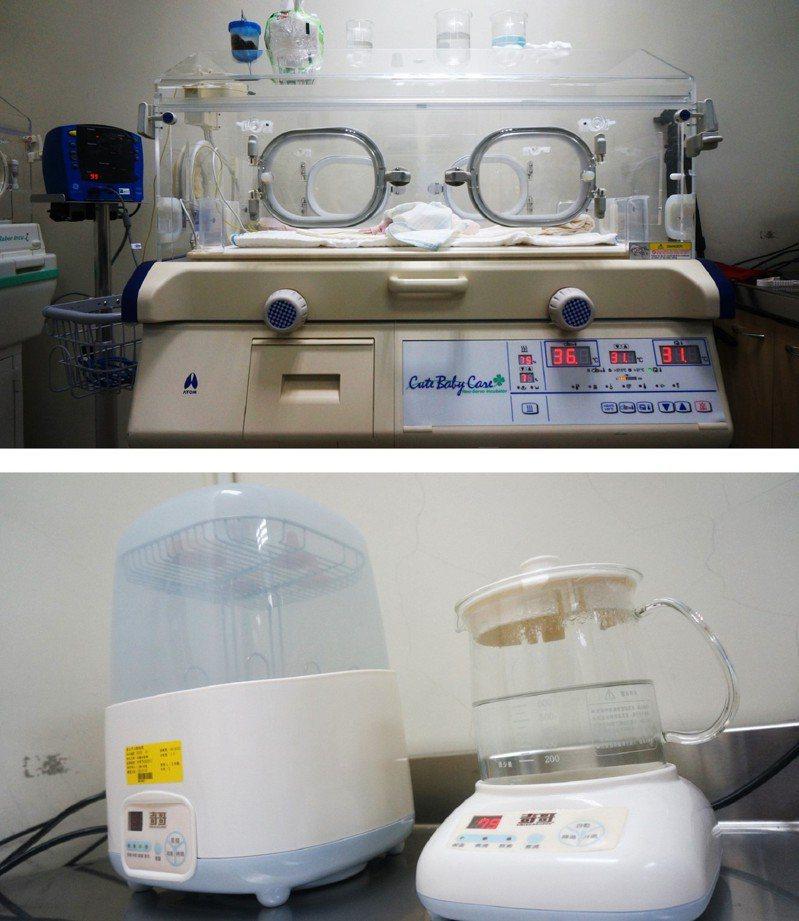 壓箱「育幼神器」、發揮即刻救援,圖為保溫箱、奶瓶消毒器。圖/台北市立動物園提供