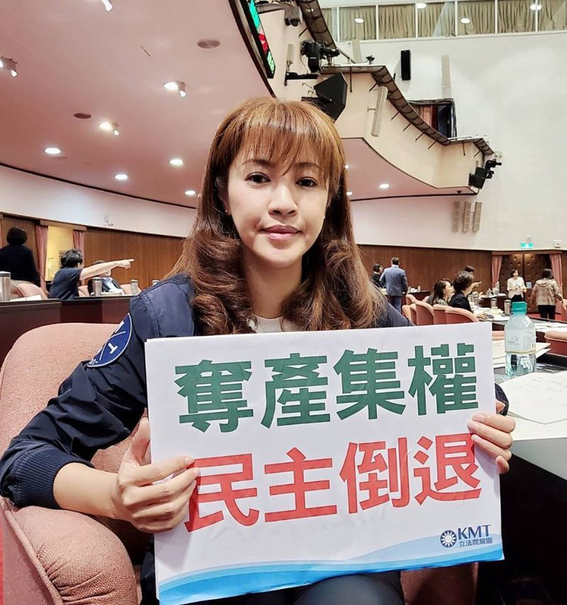 許淑華批評民進黨透過立法,將農田水利會改成公務機關,帶頭搶奪人民資產。圖/許淑華提供