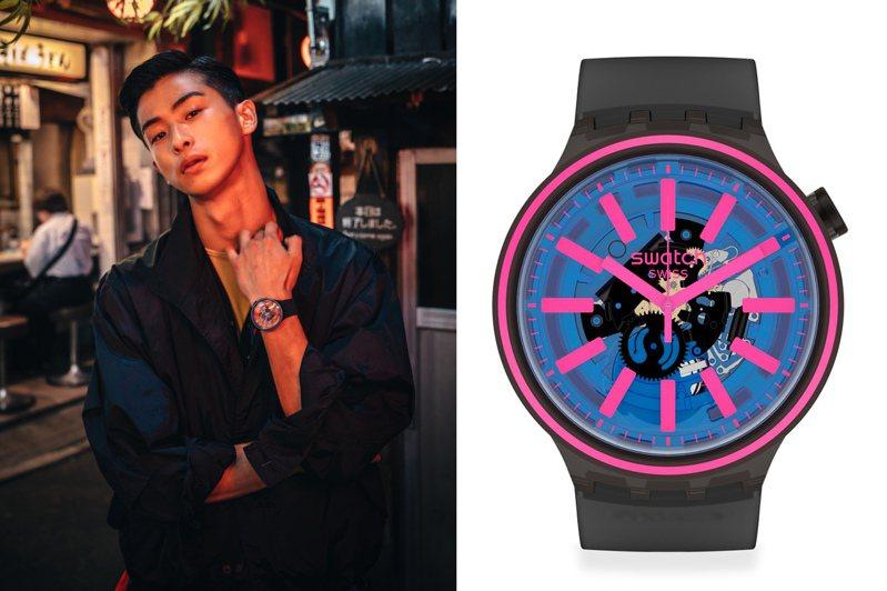 SWATCH推出全新的Big Bold SPECTRUM系列腕表,有著搶眼鮮豔的螢光彩色元素3,600元。圖/SWATCH提供