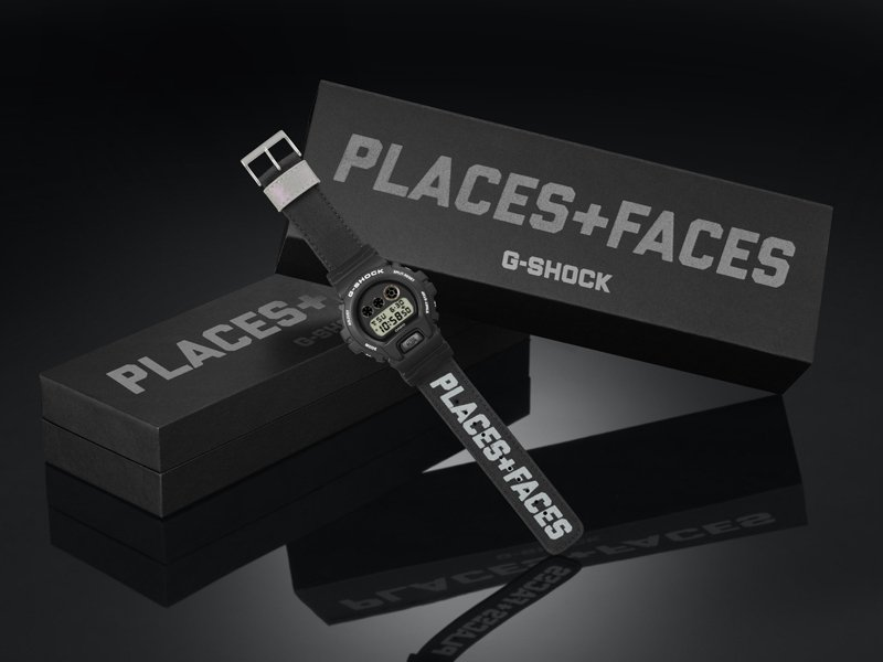 DW-6900PF-1聯名腕表,包裝設計則採用一貫的黑色外盒印刷灰銀色Logo,簡約俐落呼應表款設計。圖/Casio提供