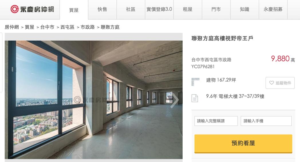 台中七期豪宅「聯聚方庭」喊賣,開價9,880萬元。圖/截自網路
