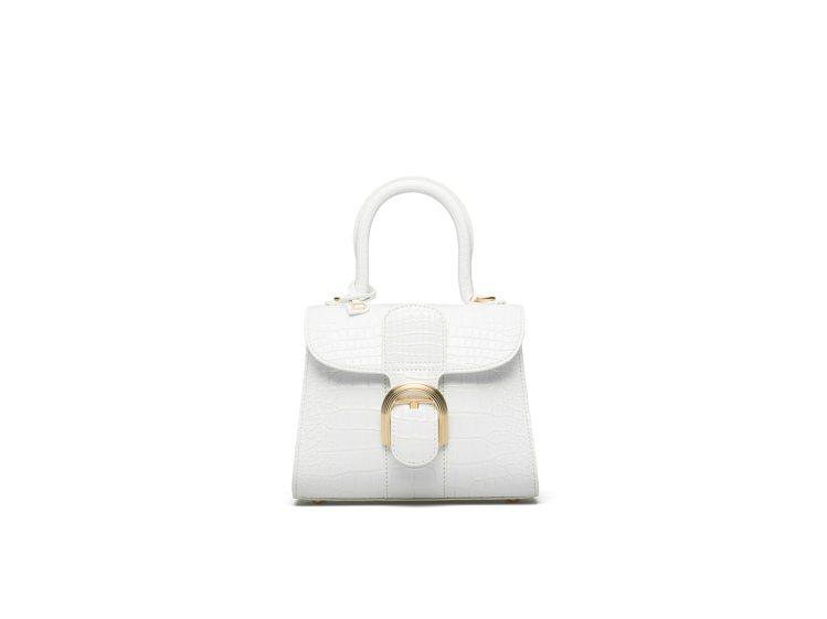 Brillant光亮白鱷魚皮小型肩背手提包,價格電洽元。圖/DELVAUX提供