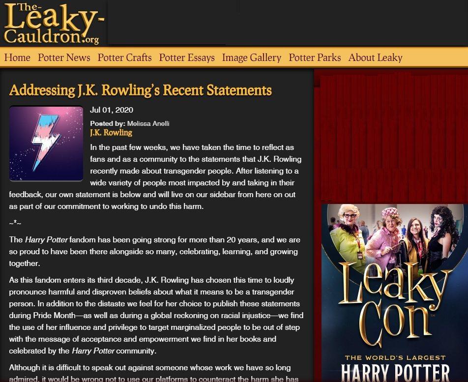 大型「哈利波特」粉絲網站發表聲明反對J.K.羅琳對跨性別族群的看法,和她切割。圖...