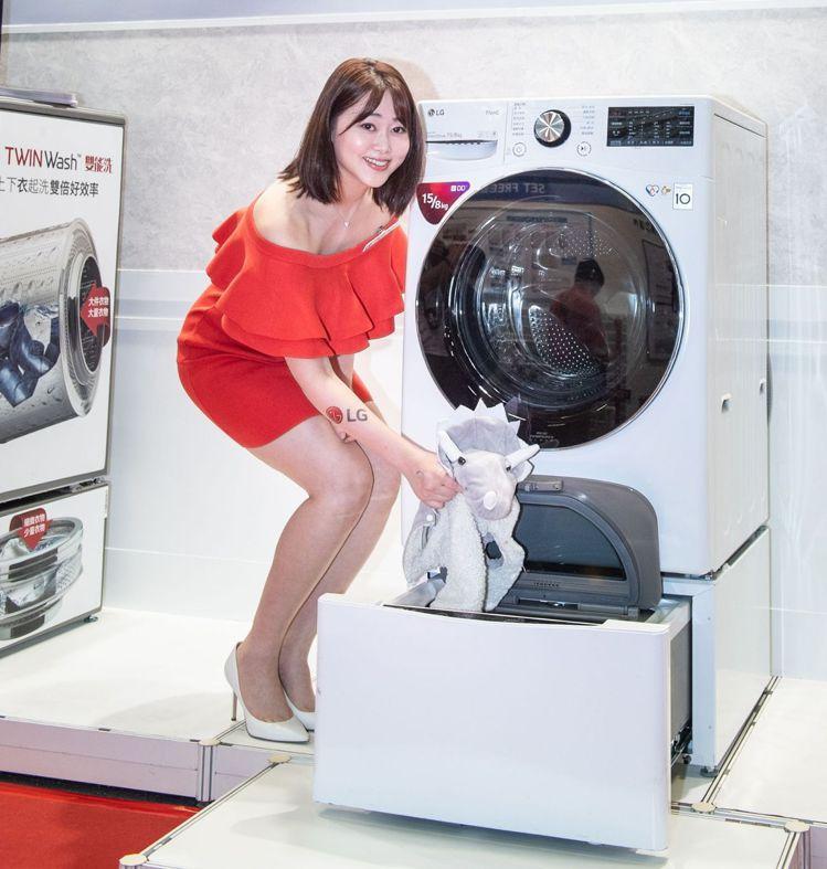 LG TWINWash雙能洗上層直驅變頻滾筒洗衣機能輕鬆洗滌全家衣物,下置LG ...