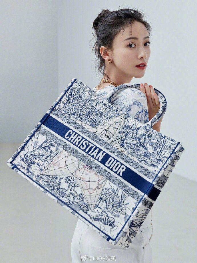 吳謹言搭配DIOR環遊世界藝術圖騰刺繡帆布Book托特包,10萬元。圖/取自微博