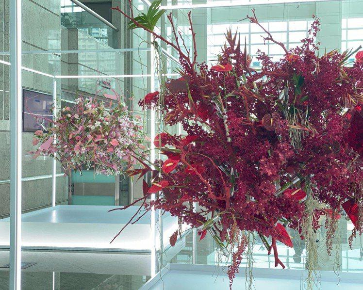 台北101「島嶼花園」台灣花卉與當代藝術展。圖/台北101提供