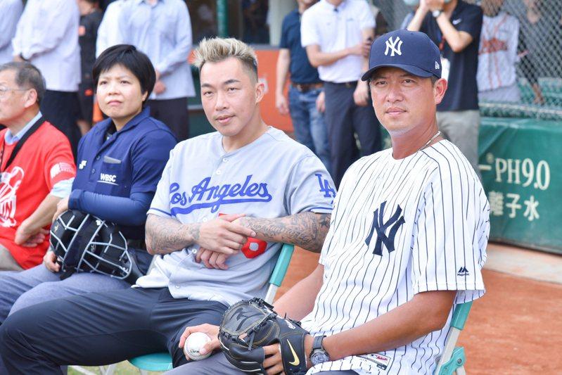 郭泓志、王建民兩位大聯盟前球星參與活動。圖/統一獅隊提供