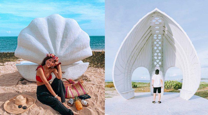 澎湖林投「貝殼教堂」坐擁海景,各大純白巨型貝殼造景讓大家輕鬆變身「珍珠」美人魚。圖/IG@lunac_hawaii授權、IG@chinling_kuo授權