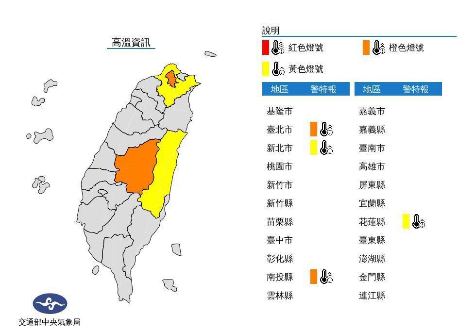 太平洋高壓影響,各地天氣晴朗炎熱,中央氣象局發布高溫資訊,今天中午前後台北市地區...