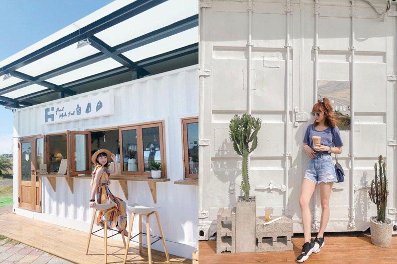 南寮漁港全新打造的貨櫃市集,預計共有10個貨櫃屋及人氣巨型咖啡車陸續進駐。圖/IG@weng_tzuyun授權、IG@o_omikilove授權