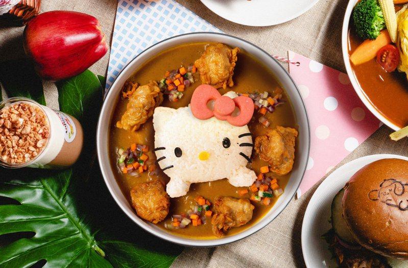 園區結合三麗鷗旗下6大明星角色,由Hello Kitty領軍超可愛的布丁狗、大眼蛙、美樂蒂、蛋黃哥、大耳狗喜拿組成玩咖大聯萌。圖/Hello Kitty 蘋果村親子餐廳提供