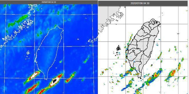 今(6日)晨4:30紅外線雲圖顯示,台灣上空雲層稀疏(左圖)。4:30雷達回波合成圖顯示,中南部沿海有零星回波(右圖)。圖/「三立準氣象.老大洩天機」專欄提供