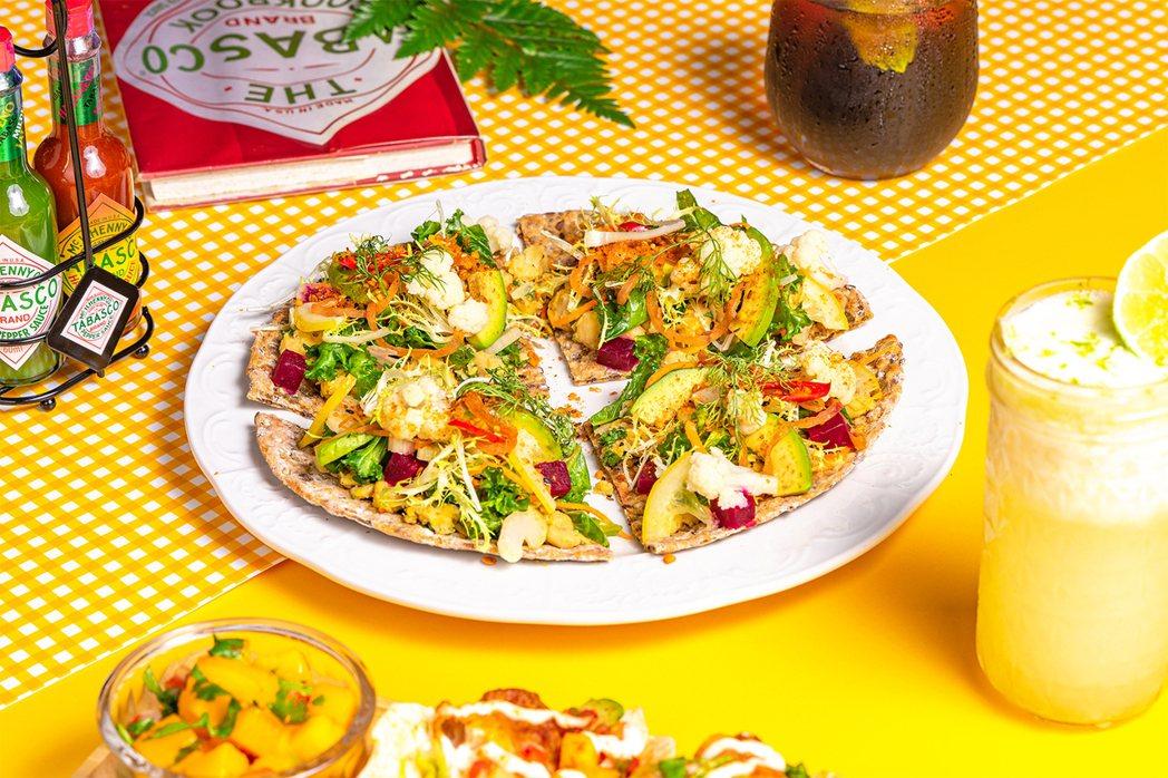 搭配9種蔬菜的「中東鷹嘴豆輕蔬餅」,每份320元。圖/the Diner樂子提供