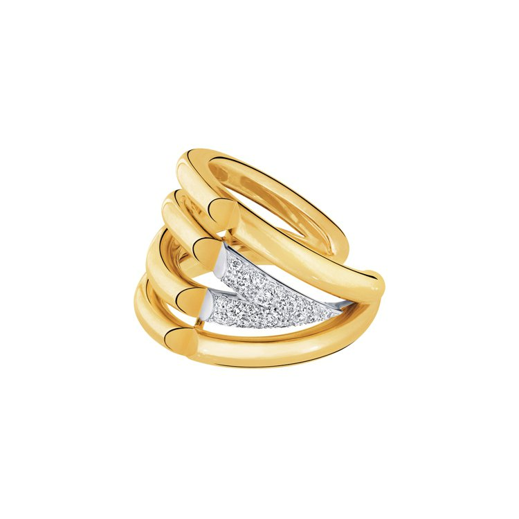 路易威登LV VOLT系列Upside Down 18K黃金與白金鑲鑽戒指,33...
