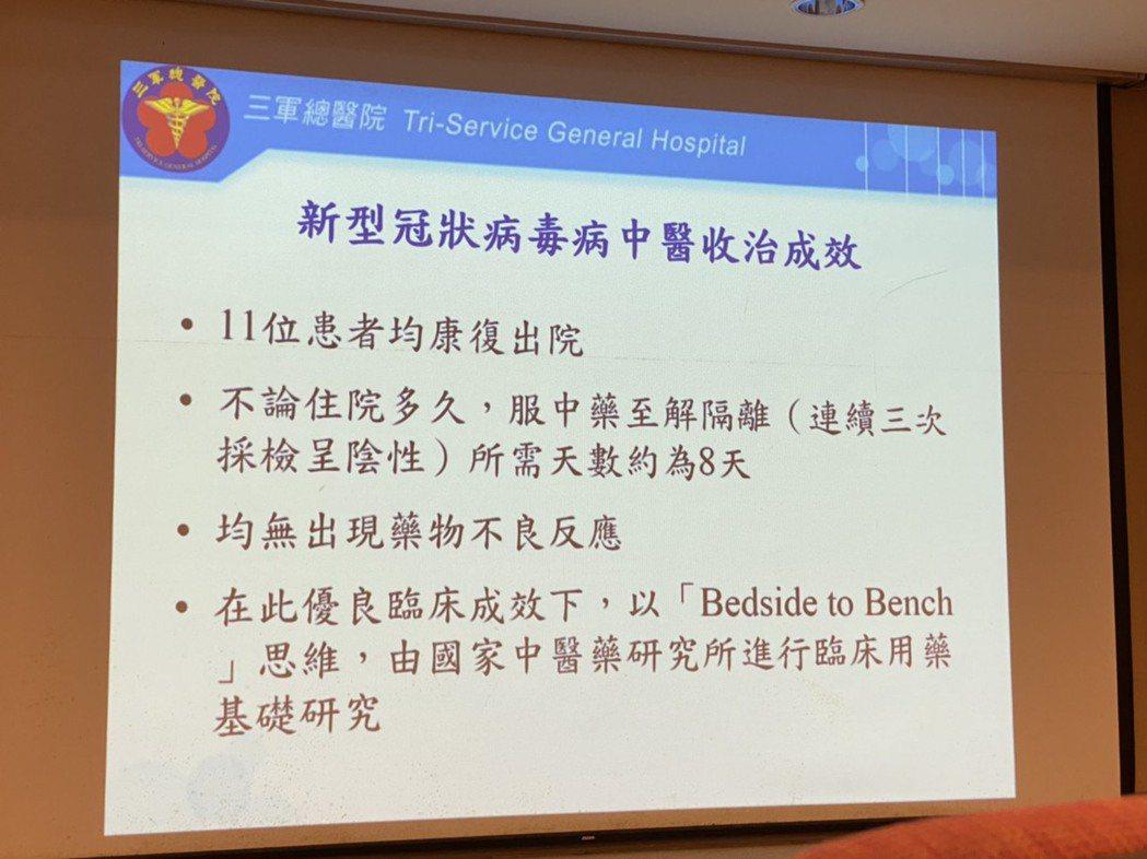 三軍總醫院感染科、熱帶醫學科與中醫部建立「新冠肺炎患者中西醫共治模式」,採國家中...