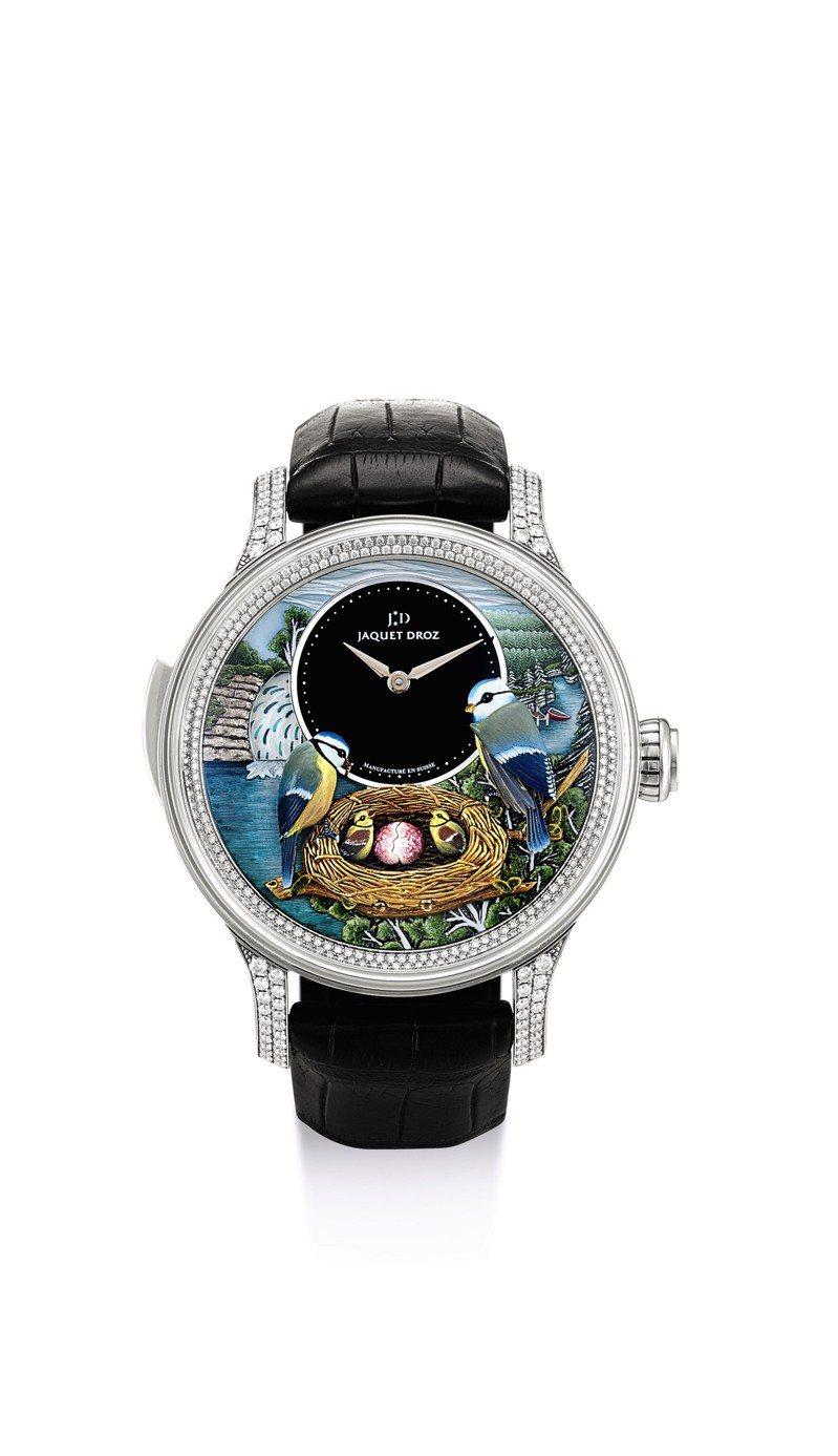 雅克德羅The Bird Repeater限量版白金鑲鑽石三問腕表,備自動人偶、手繪珠母貝及瑪瑙表盤,約2015年製,估價約160萬港元起。圖/蘇富比提供