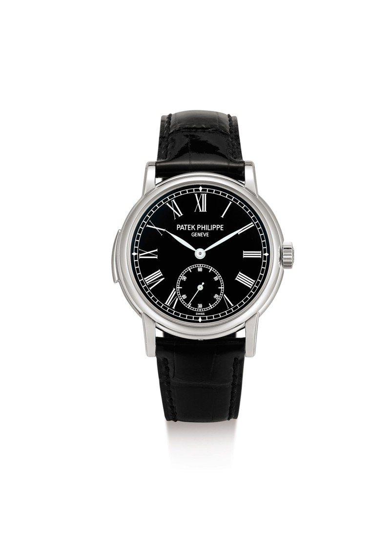 百達翡麗型號5078鉑金三問腕表,約2016年製,估價約160萬港元起。圖/蘇富比提供