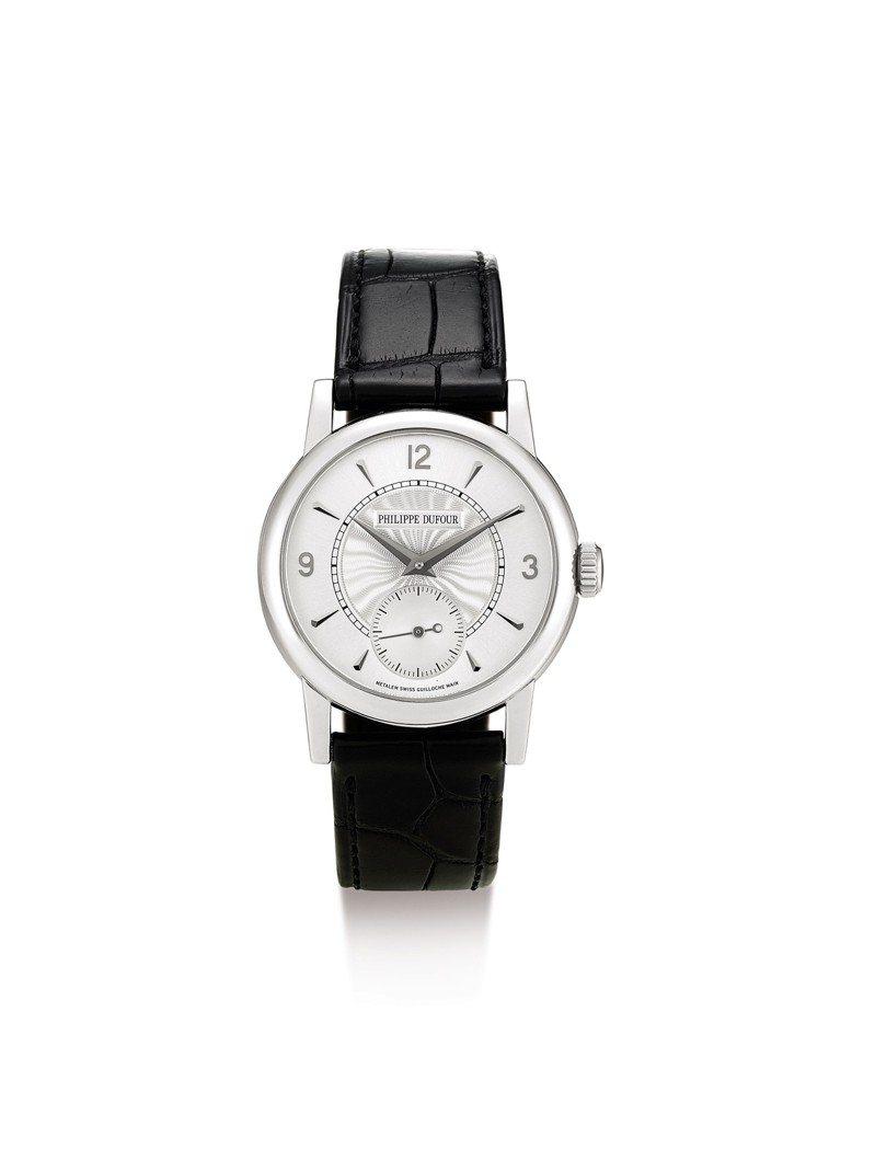 PHILIPPE DUFOUR Simplicity白金腕表,機芯編號167,2011年製,估價約160萬港元起。圖/蘇富比提供