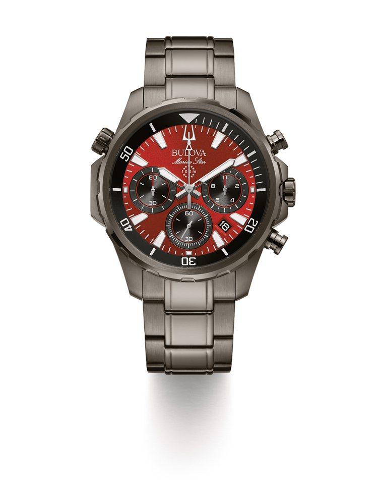 BULOVA Marine Star系列 98B350,不鏽鋼錶殼、錶帶,搭載石...