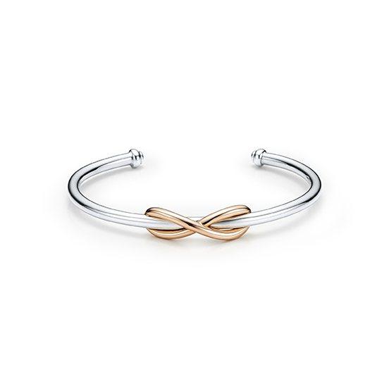 Tiffany Infinity純銀與18K玫瑰金手環,30,500元。圖/Ti...
