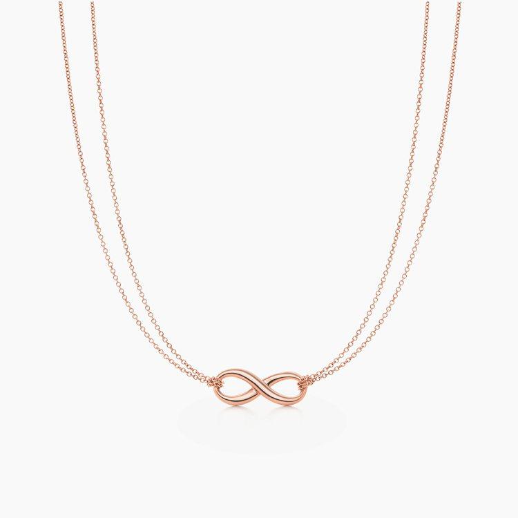 Tiffany Infinity 18K玫瑰金項鍊,39,000元。圖/Tiff...