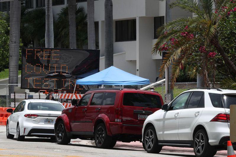 邁阿密新增確診病例數本周衝破三位數,圖為位於邁阿密海灘會展中心外的病毒檢測站。法新社