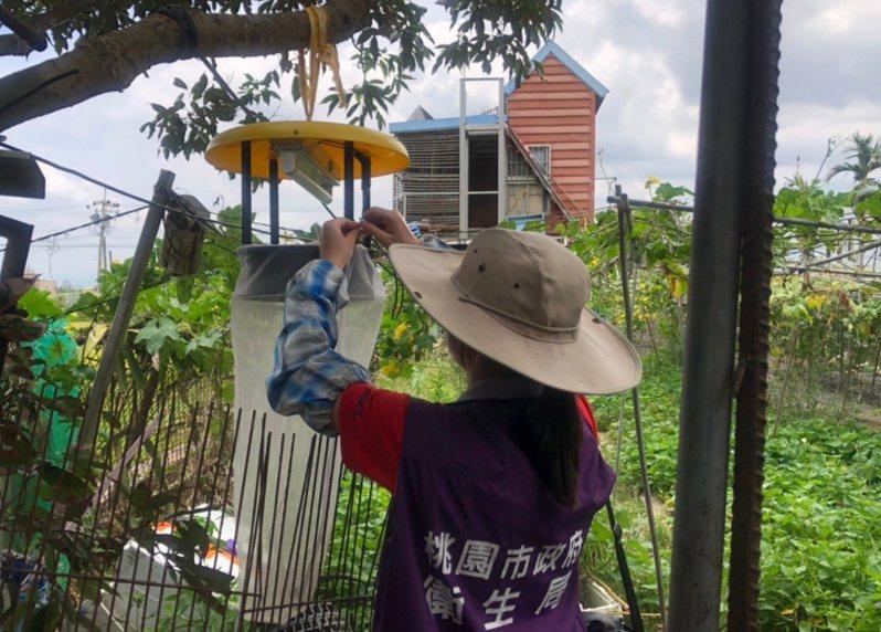 桃園出現今年首例日本腦炎,今天有兩名50歲女性確診,桃園市衛生局啟動防疫機制,除疫調釐清可能風險地點外,也在個案住宅附近懸掛誘蚊燈,誘捕病媒蚊。圖/桃園市衛生局提供