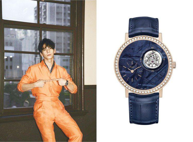 出席新片「怪胎」首映會時,林柏宏配戴上了伯爵(PIAGET)隕石面陀飛輪腕表,一...