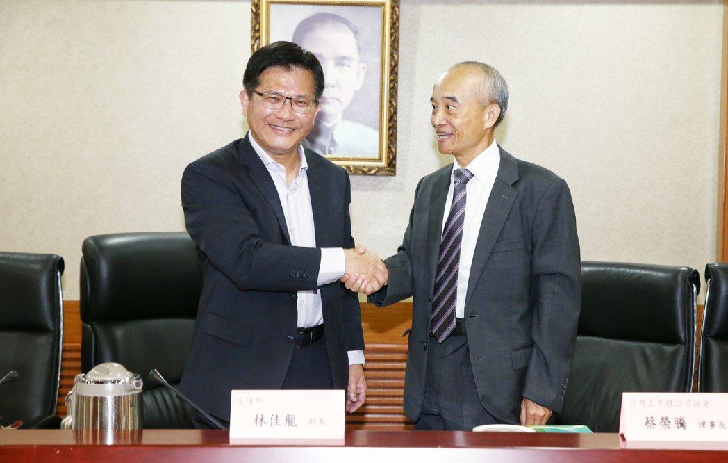 台灣上市櫃公司協會理事長蔡榮騰(右)拜會交通部長林佳龍(左)。記者曾原信/攝影